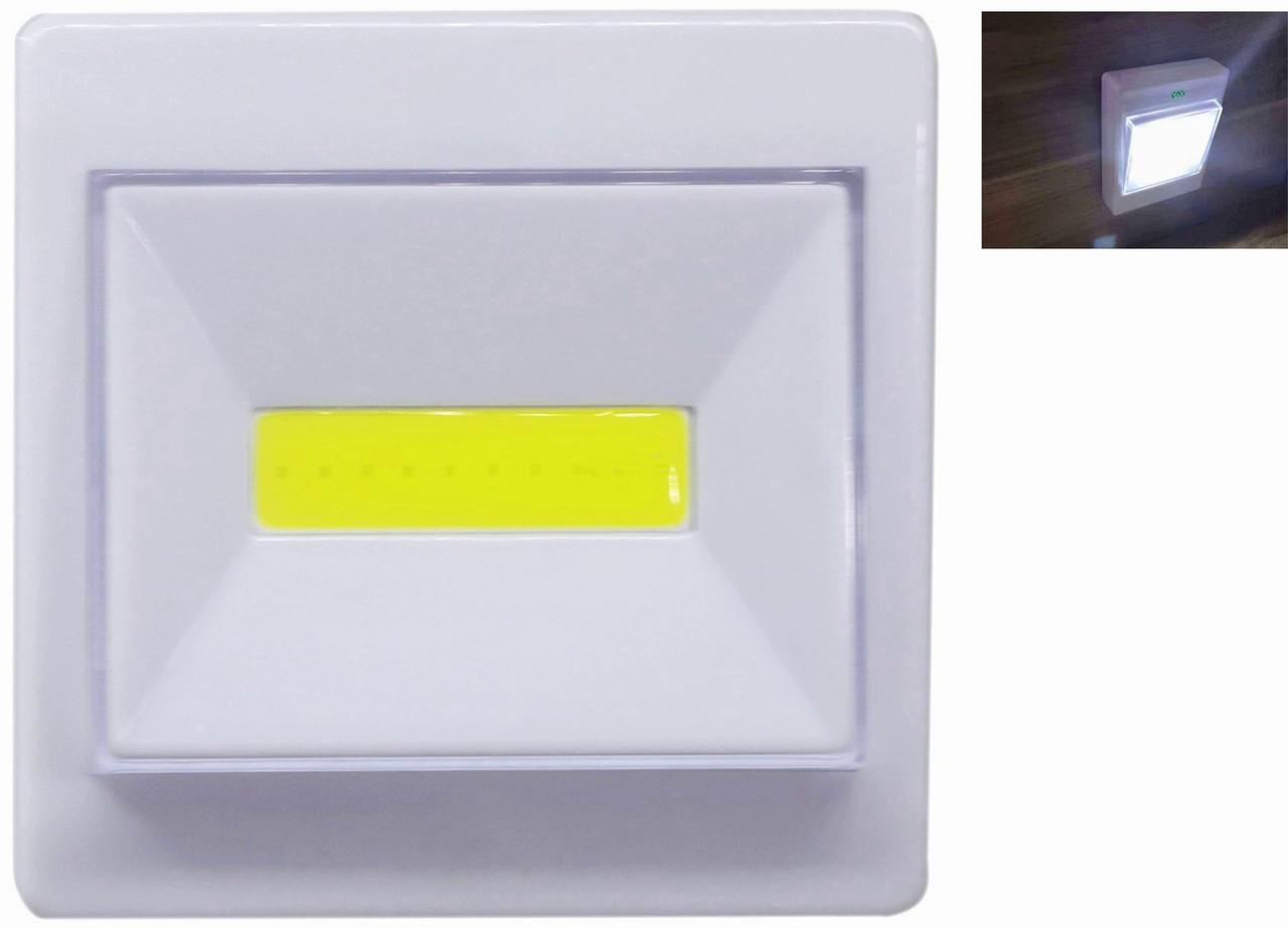 Фонарь- выключатель WD308-1/4хAAA с магнитным креплением и липучкой под шурупы на батарейках