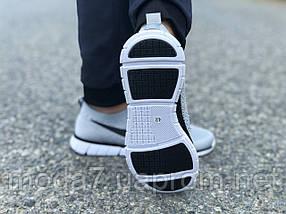 Кроссовки мужские серые Nike Free Run сетка реплика, фото 3