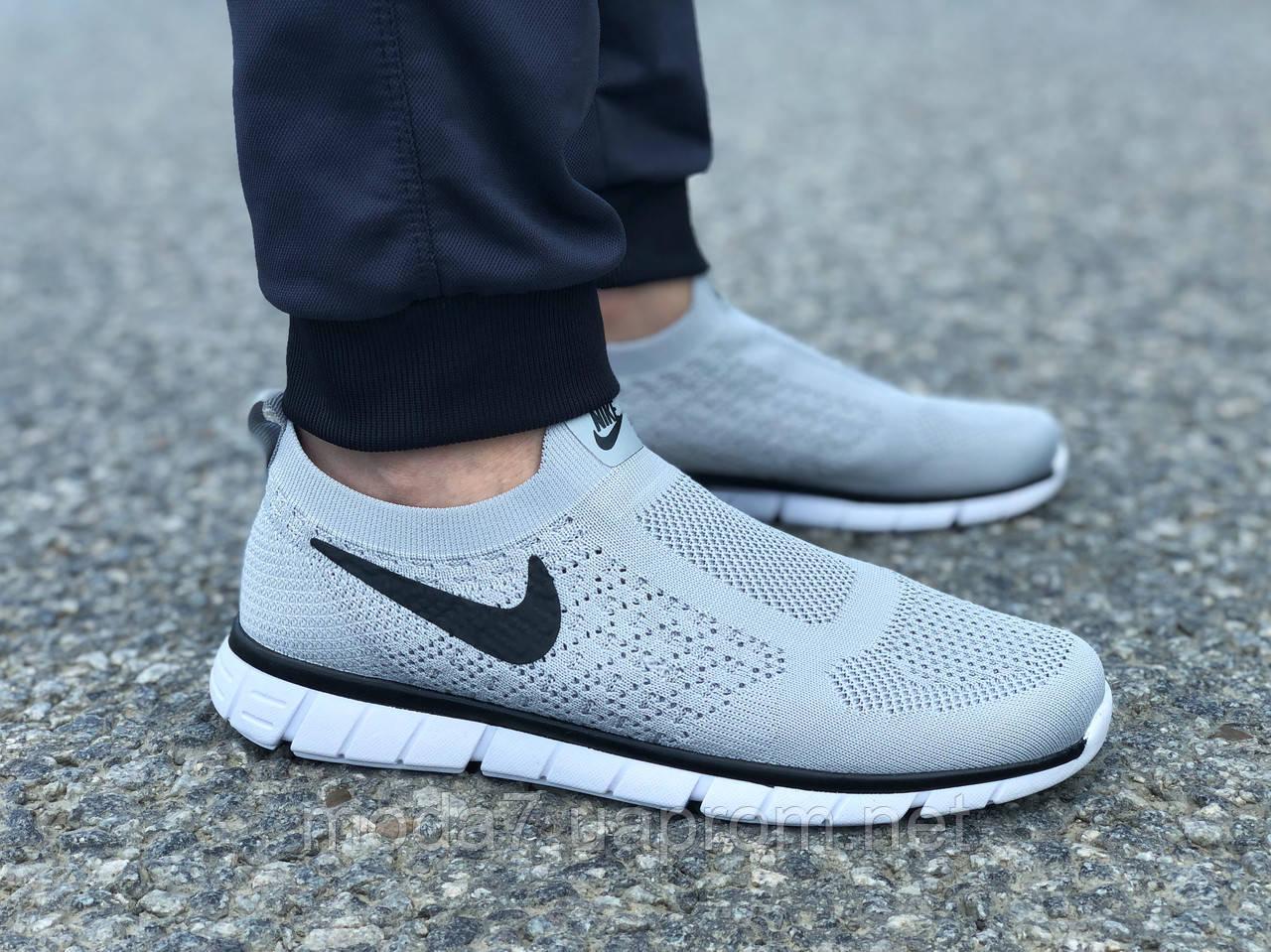 Кроссовки мужские серые Nike Free Run сетка реплика
