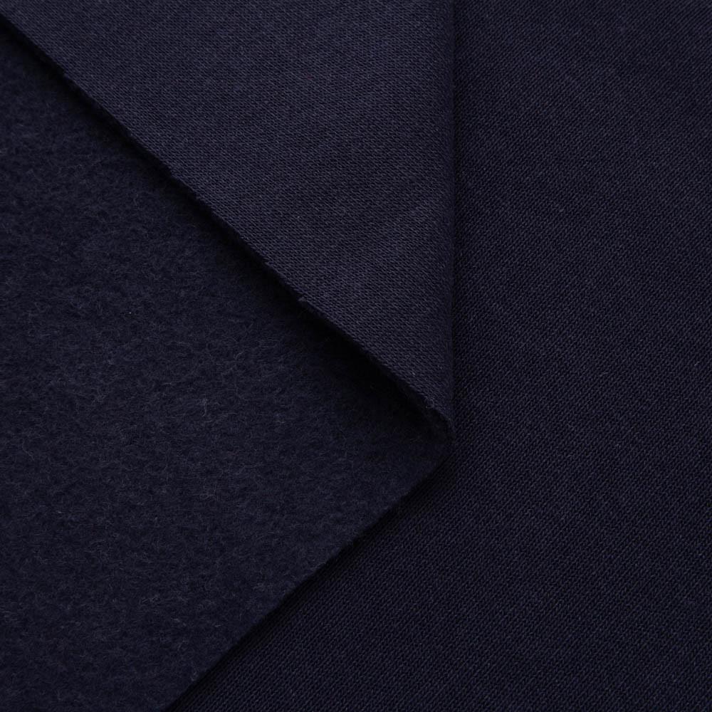 Трикотажное полотно Футер трехнитка на флисе, Темно Синий, с начесом, купить оптом, Украина