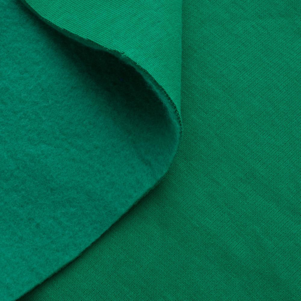 Трикотажное полотно Футер трехнитка на флисе, Зеленый, с начесом, купить оптом, Украина