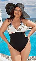 Модный слитный женский купальник с цветами больших размеров 94449