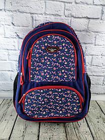 Рюкзак шкільний California 980557 синій з квітами 29251Ф