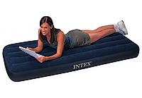 Качественный надувной пляжный матрас Intex синего цвета, одноместный! Размер матраса: 191x76x25см!