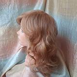 Парик из натуральных волос удлиненный каскад медовый микс ANGELIKA- 27/24В, фото 4