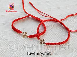 Дуже гарний браслет червона нитка з хрестиком під золото