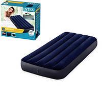 Надувной велюровый пляжный матрас Intex синего цвета, одноместный! Размер матраса: 191x76x25см!