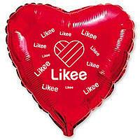"""Фольгована кулька серце червоний з білим принтом Likee 18""""  Flexmetal."""