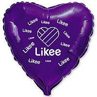 """Фольгована кулька серце фіолетовий з білим  принтом Likee 18""""  Flexmetal."""