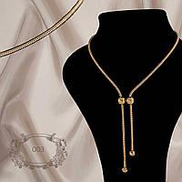 """Красивое женское колье """"галстук"""" длиной 100 см из серебра 925 пробы и покрытием позолота, фото 1"""