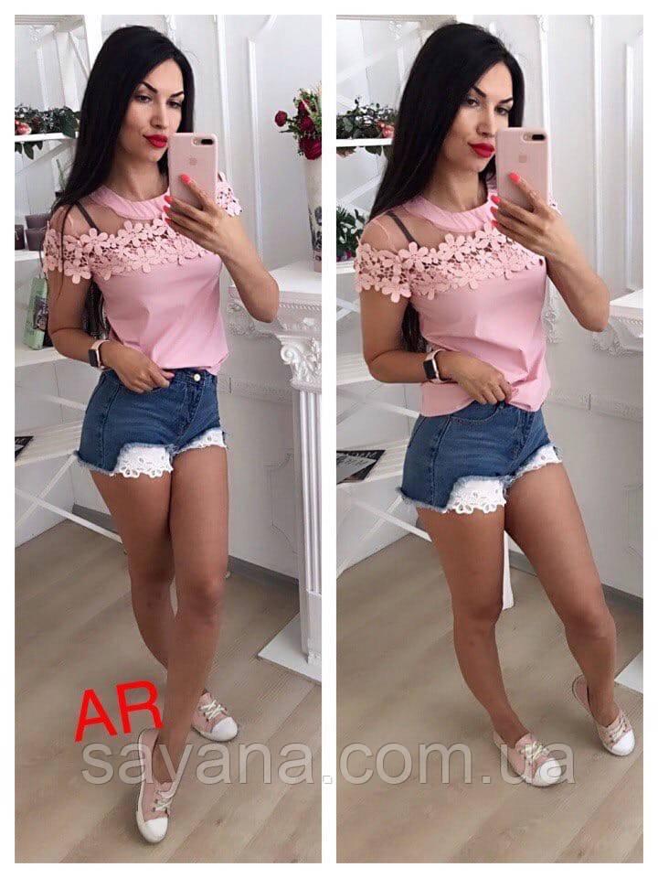 Женская симпатичная блуза с кружевом, 2 цвета. АР-1-0620