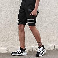 """Летние мужские шорты-карго """"Токсин"""" черные с рефлективными липучками"""