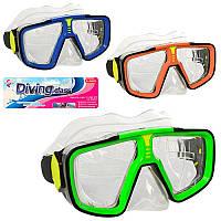Маска для плавання 6506 17-8см, положення.ремінець, 3 кольори, в кульку 20-18-6 см