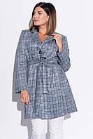 Пальто из замша с комбинированным принтом (48-50)