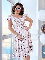 Летнее короткое платье для полных женщин в цветах на запах с воланами (L/XL, XL/XXL)