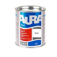 Антикорозійна грунт-емаль AURA 3 в 1 біла 0.8 кг