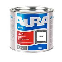 Антикорозійна грунт-емаль AURA 3 в 1 біла 2.5 кг