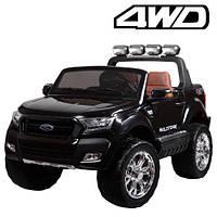 Детский электромобиль Машина Джип Ford Ranger  Черный для мальчика девочки 3 4 5 6 7 8 лет полный привод