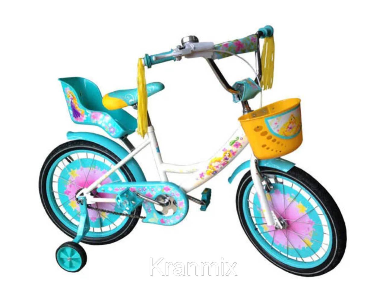 Детский двухколесный велосипед Azimut GIRLS 16 дюймов для девочки БИРЮЗОВЫЙ