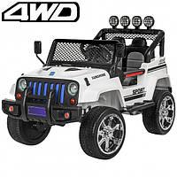 Детский электромобиль Машина Джип Jeep Wrangler белый для мальчика девочки 3 4 5 6 7 8 лет полный привод