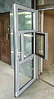 Входные  металлопластиковые  двери  с торговым окном