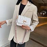Модная маленькая женская сумка. Сумка женская стильная с текстильным ремешком. Сумочка из экокожи летняя Белая, фото 6