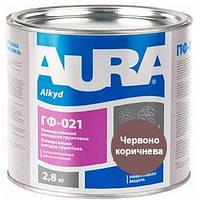 Грунтовка антикорозионная алкидная AURA ГФ-021 красно-коричневая 2.8 кг