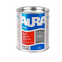 Антикорозійна грунт-емаль AURA 3 в 1 сіра 0.8 кг