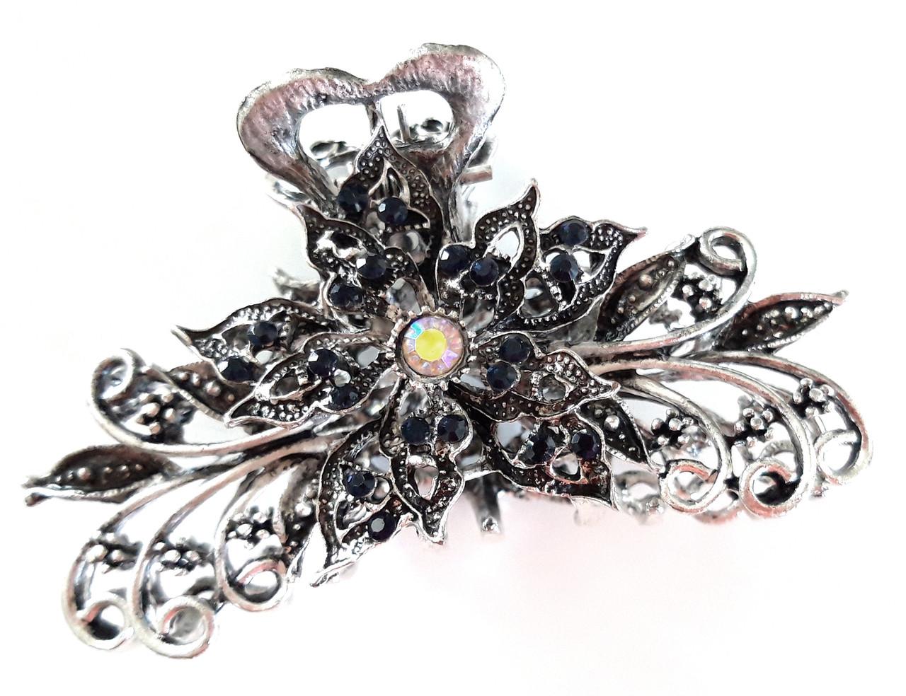 Шпилька краб для волосся металевий зі стразами 9х5 см сріблястий