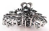 Шпилька краб для волосся металевий зі стразами 9х5 см сріблястий, фото 2