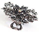 Шпилька краб для волосся металевий зі стразами 9х5 см сріблястий, фото 3
