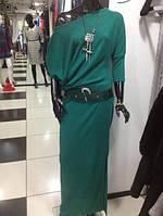 Платье женское из ангоры в зеленом  цвете