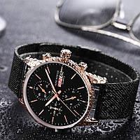 Наручные мужские черные кварцевые часы Mini Focus MF0180G