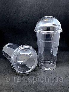 Стакан пластиковий (купольна кришка з отвором)  прозорий COVERIS  500мл/50шт (16уп/ящ)