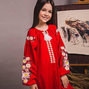 Вышитое платье для девочки Цветочное на красном льне