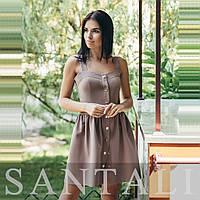 Платье с пышной юбкой с кнопками по всей длине и на бретелях 45031266, фото 1