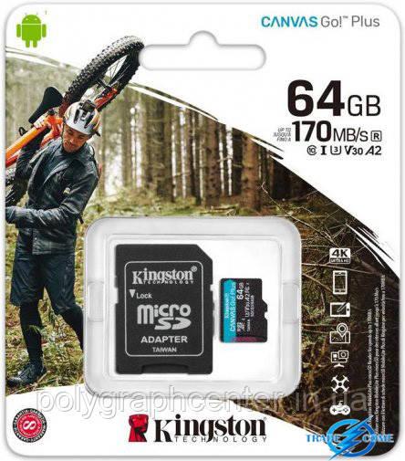 Карта памяти MicroSDXC 64GB UHS-I/U3 Class 10 Kingston Canvas Go! Plus