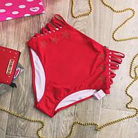 Красные высокие  плавки Studded Strappy High Waist Bikini от Victoria's Secret