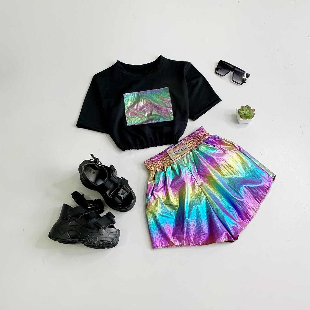 Женский летний спортивный костюм с шортами хамеолеон и топом 6605975Е