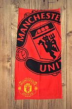 "Пляжное полотенце  ФК ""Манчестер Юнайтед"" с логотипом  любимого футбольного клуба"
