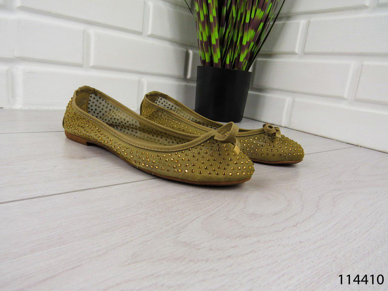 """Балетки, мокасины хаки """"Liger"""" текстильные , легкая, повседневная, удобная женская обувь"""