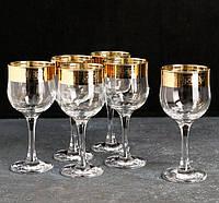 "Набор бокалов 240 мл для вина  рисунок ""Версаче Голд"" 6 шт."