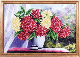 """Рисунок на ткани для вышивания бисером """"Астры на столе"""""""