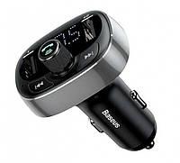 FM модулятор трансмиттер Bluetooth Baseus T Typed MP3 CCALL-TM01 2USB 3.4A Silver 20358, КОД: 1724313