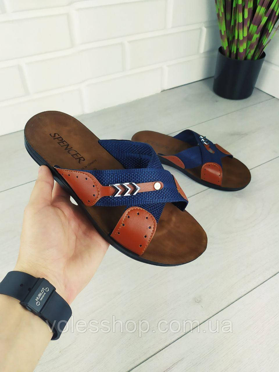 Шлепанцы мужские, синие текстильные, шлепки мужские, тапочки мужские, вьетнамки мужские, обувь летняя