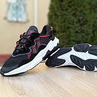 Модные мужские кроссовки Adidas OZWEEGO TR чёрные с красным (топ реплика ААА+), фото 1