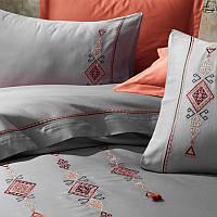 Постельное белье сатин с вышивкой Dantela Vita Tilbe antrasit, фото 1