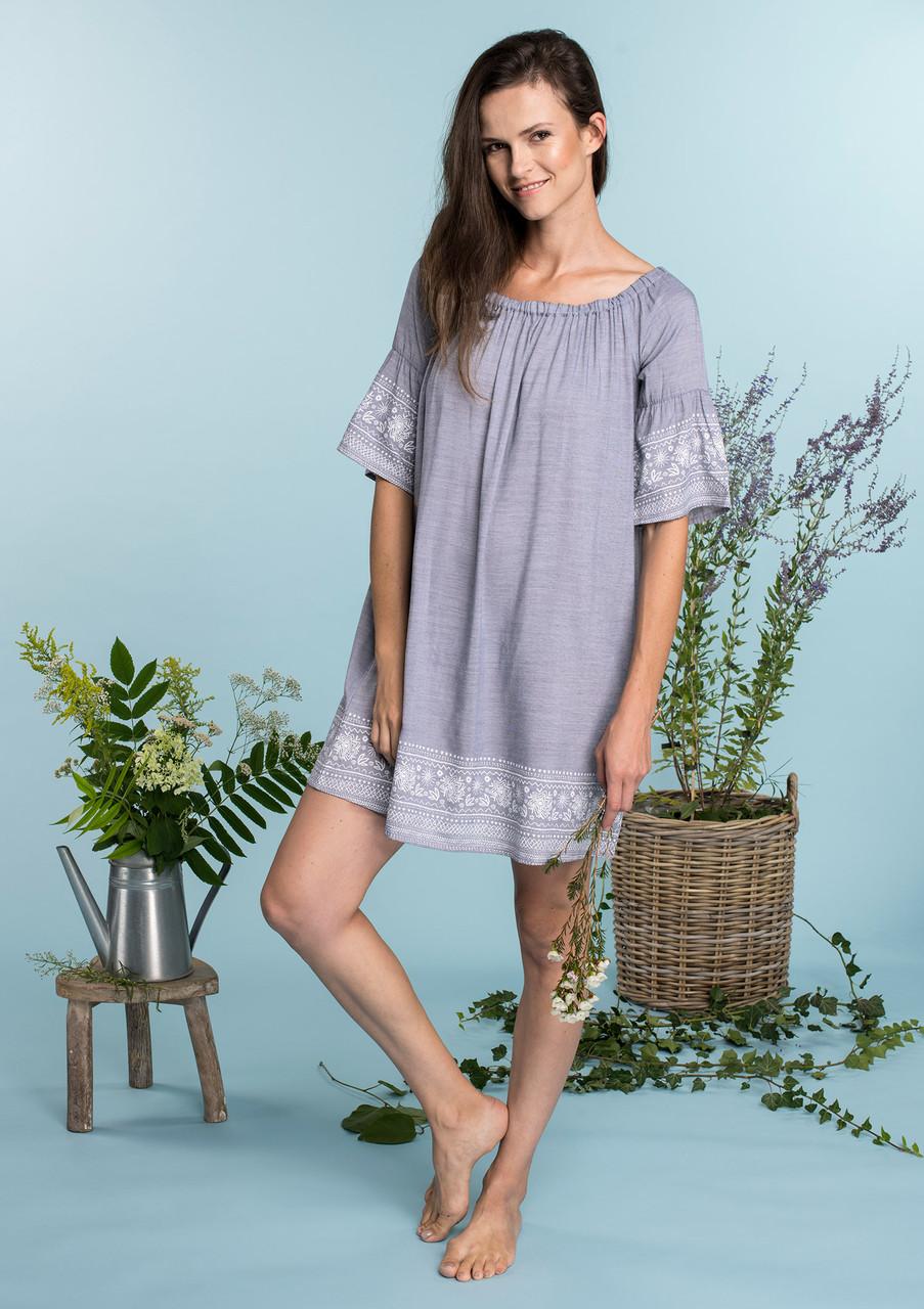 Літня жіноча сукня з еластичним декольте Key LHD 576