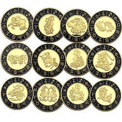 Сувенирная монета Двенадцать созвездий зодиака, инкрустированный