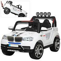Детский электромобиль Машина Джип BMW БМВ белый для мальчика девочки 3 4 5 6 лет M 3118EBLR-1 полный привод